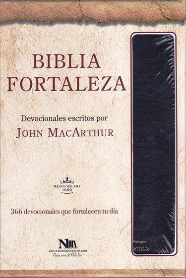 Biblia Fortaleza RVR60 - con 366 devocionales para conocer la Palabra - cuero negro