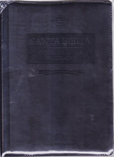 Santa Biblia RVR60 - letra super gigante con referencias inmediantes - cierre y indice - negro