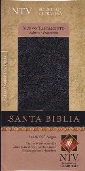 Biblia NT con Salmos y Proverbios NTV - edición bolsillo ultrafina - cuero