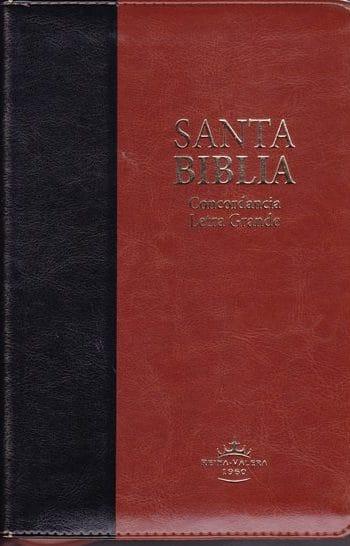 Biblia RV1960 Letra Grande Tamaño Manual con concordancia e indice en orilla (Negro / cafe - símil piel con ziper)