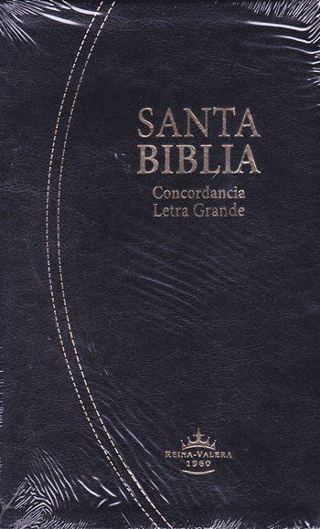 Biblia RV1960 Letra Grande Tamaño Manual con concordancia e indice en orilla (Negra - símil piel)
